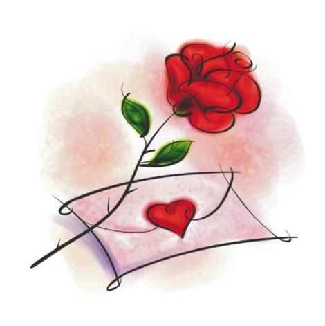 desenho de rosa e carta de amor